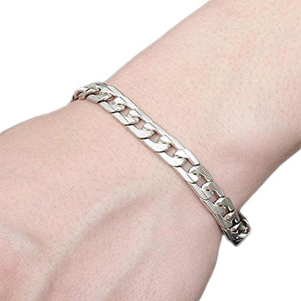 Cdet Bracelet hommes en acier de titane Bracelet poignet en argent pour avec chaînette élégante Style Nouveau