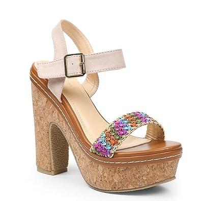 Ideal Shoes Sandale mit Plattform Aus Kork mit Riemen Geflochten und Bride Effekt Wildleder Natassia