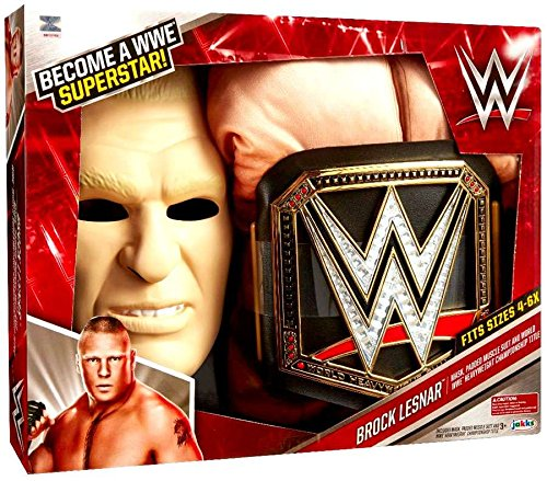 WWE Brock Lesnar Deluxe Muscle Suit with Championship Title (Wwe The Rock Costume)