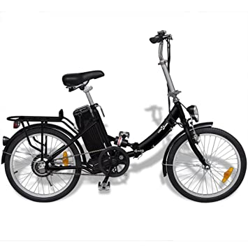 Festnight Bicicleta eléctrica Plegable de Aluminio con Batería litio-ion Color Negro