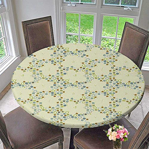 Mikihome Round Premium Table Cloth Ornament of Decorative Medallion Shapes Bordered with Small Wildflowers Perfect for Indoor, Outdoor 35.5