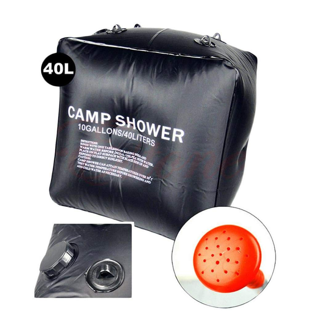 Feccile Sports & Outdoor Supplies,10 gallons/ 40L Portable Solar Heating Premium Camping Shower Bag with Removable Hose Shower Head for Hiking Climbing Summer Shower by Feccile Sports & Outdoor (Image #3)