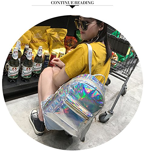 Backpack Main Gold Girl Holographic Laser Leather Mochila OneMoreT School Funny Bag Bags silver Pack Reflective Glossy Womem Silver Bag OqnBwxBvA