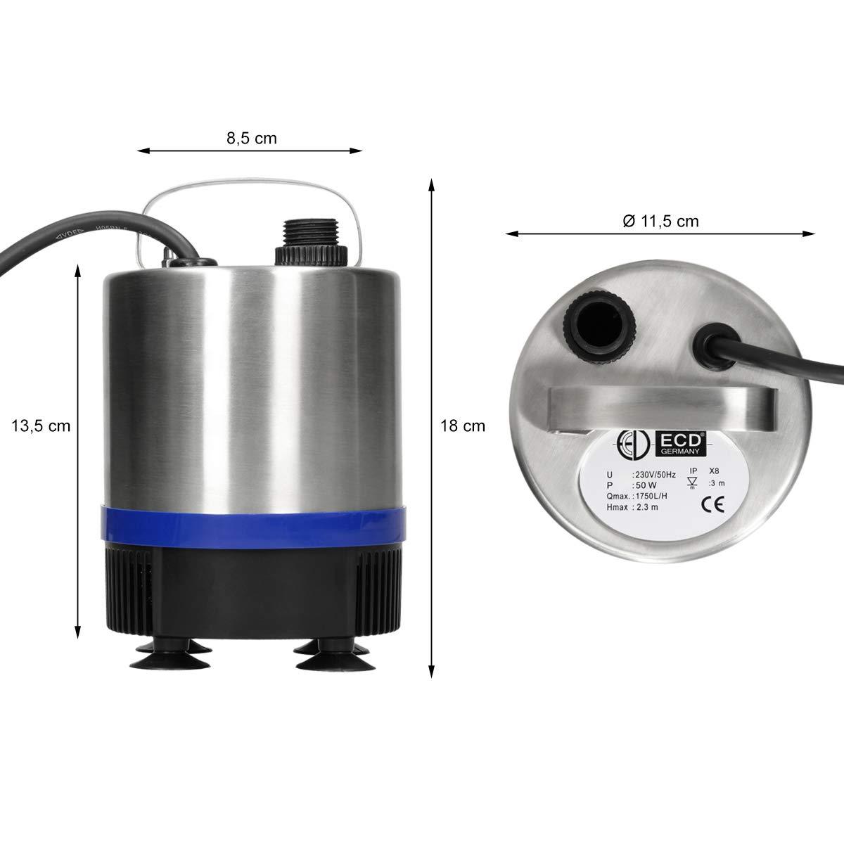 C/âble 10m ECD Germany Pompe pour fontaine 50W Pompe /à eau 50W 1750 l//h Pompe de bassin Bleu Acier inoxydable
