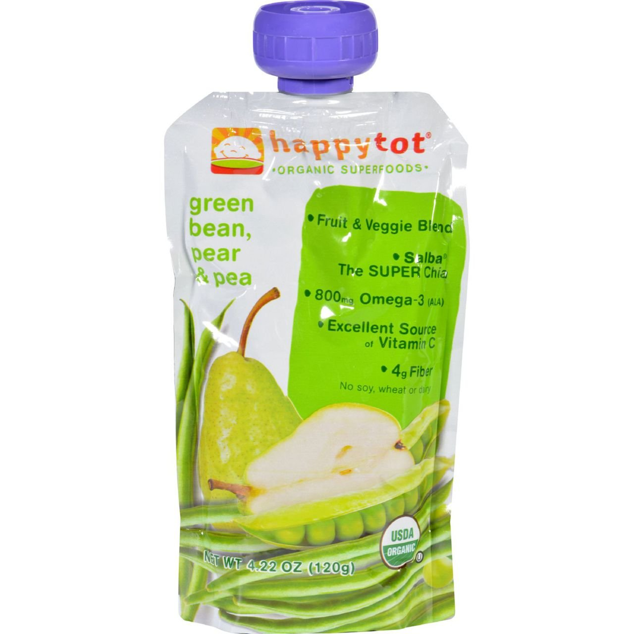 Happybaby Happy Tots - Green Beans Pears and Peas Organic Baby Super Food for Kids - 4.22 Oz pouch