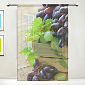 Double Joy Sheer Curtains Grapes Food Fruit Plant Nature for Bedroom,Tulle Voile (1 Panel,55(W) x 78(L) Inches)
