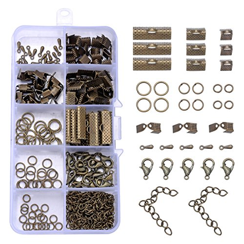 HooAMI About 200pcs Antique Bronze Jewelry Finding Sets with Mixed Sizes Ribbon Pinch Crimp Ends Lobster Clasps Drop Charm Jump Ring Chain Extenders -
