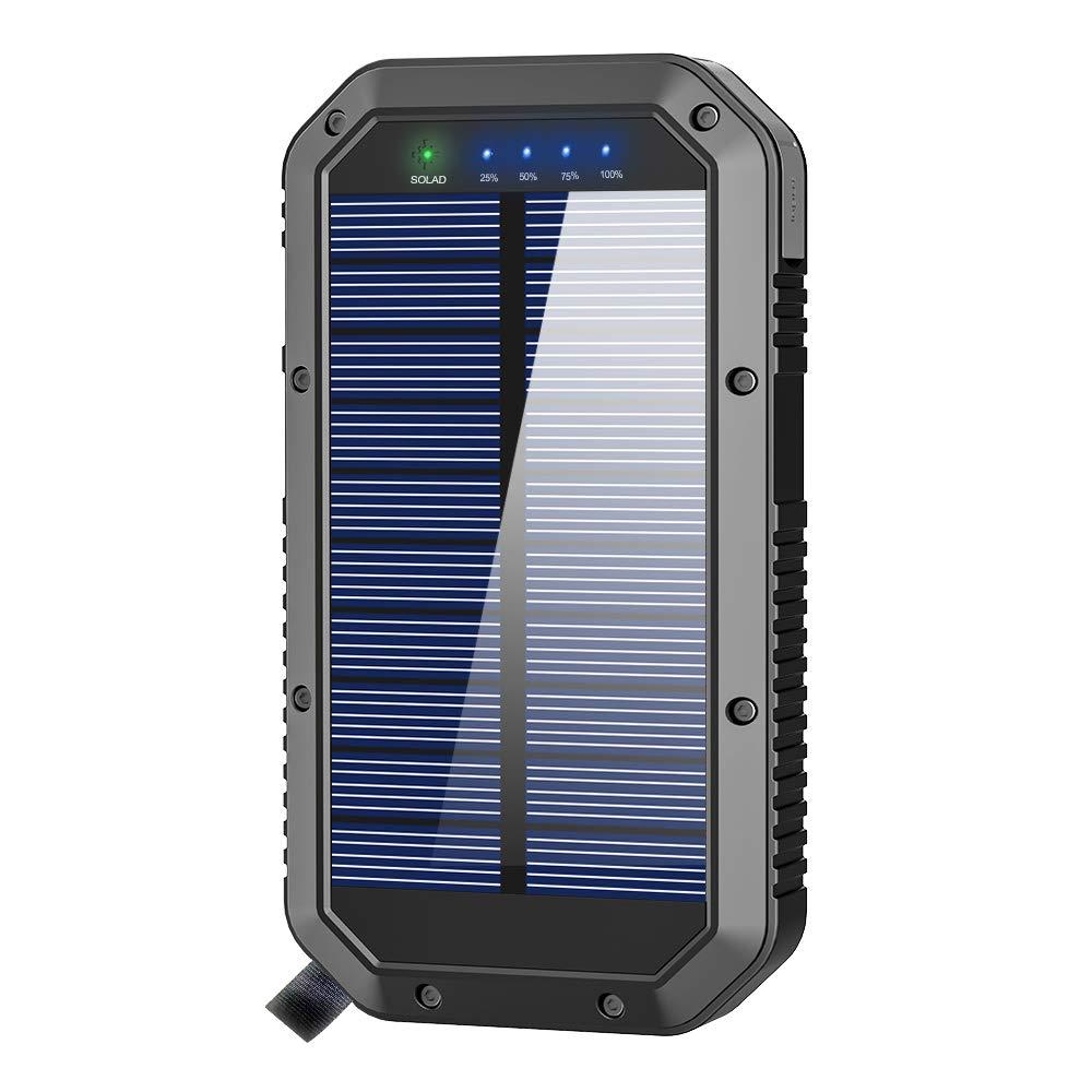 ویکالا · خرید  اصل اورجینال · خرید از آمازون · Solar Charger, 25000mAh Battery Solar Power Bank Portable Panel Charger with 36 LEDs and 3 USB Output Ports External Backup Battery for Camping Outdoor for iOS Android (Black) wekala · ویکالا