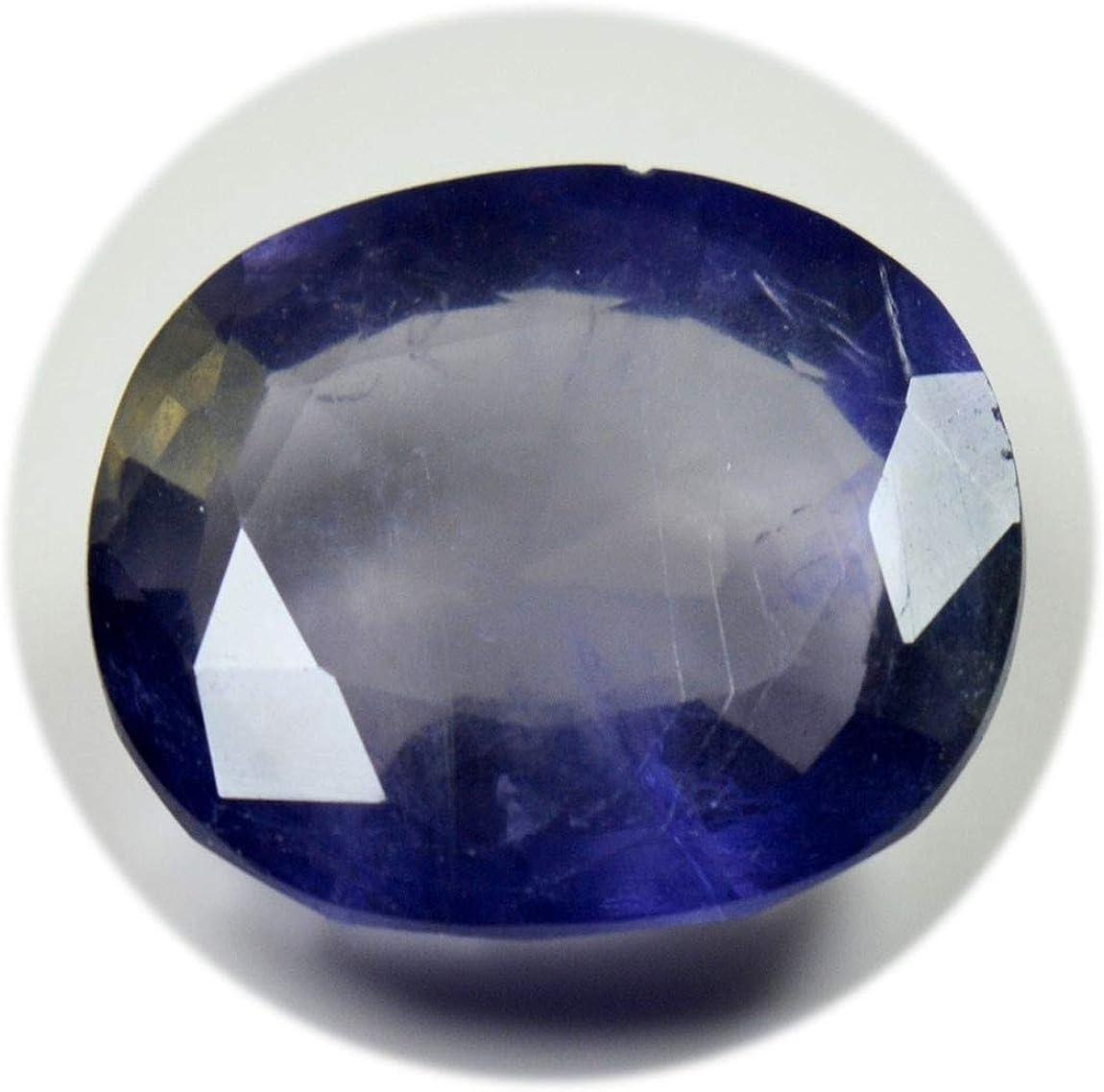 Gemsonclick 14X10 MM Taille Naturel Iolite Calibr/é Pierre Bleu Facettes Ovale Forme en Gros Gemstone