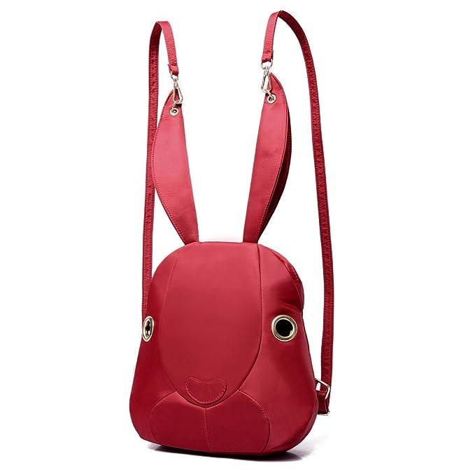 Minetom Lona Backpack Mochilas Escolares Mochila Escolar Casual Bolsa Viaje Moda Conejo Forma Linda Mujer Rojo