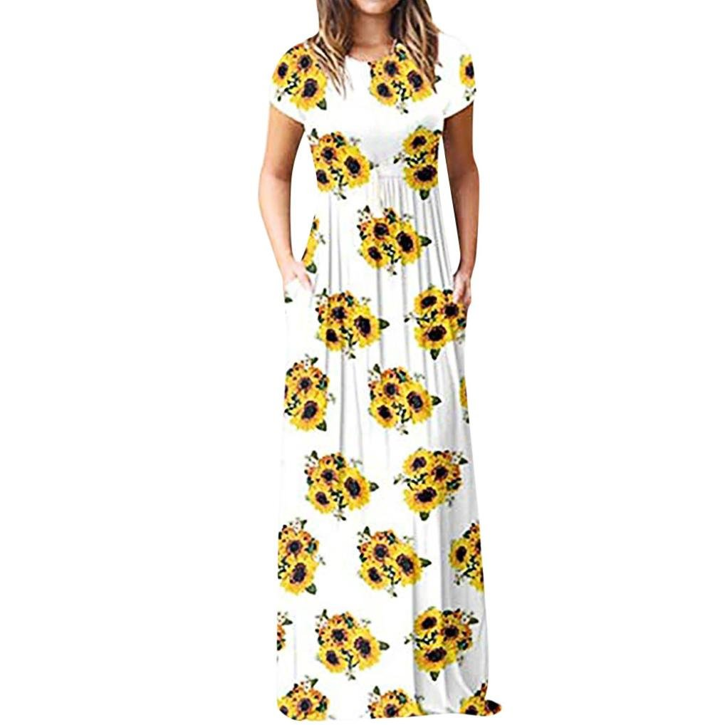 Clearance Dress Women,Casual Sunflower Print O Neck Short Sleeve with Pocket Fashion Long Dress Siaokim