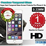 iPhone 6/6s Premium Tempered Glass Screen Protector (1 Pack) 3D Touch Super Hard 0.33mm By Jimkev 2.5d-Extreme Hard Series (iPhone 6/6s)