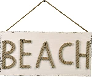 NIKKY HOME Wooden Beach Word Sign, 3D Jute Letters Wall Ornament Hanging Decoration, Ocean Home Decor for Bathroom, Bedroom or Living Room, Rustic Coastal Art - Ivory