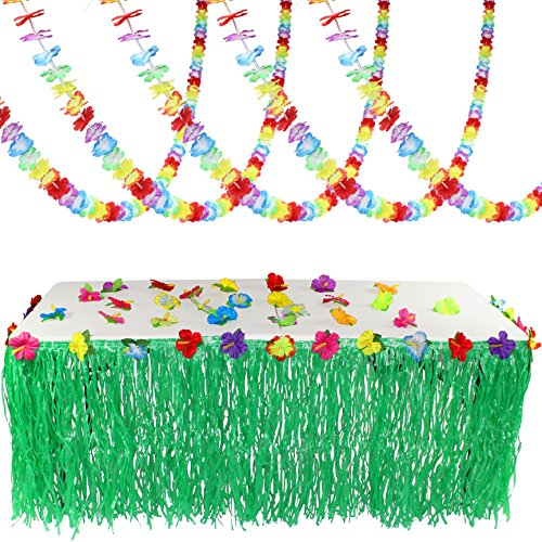 JOYIN Luau Tropical Hawaiian Party Decoration Set Including 100 ft Flower Lei Garland, 36 Hibiscus Flowers and 9 ft Luau Table Skirt ()