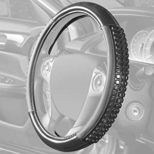 BDK Ultra Gel Comfort Grip Steering Wheel Cover – Carbon Fiber Detail with Black Microfiber Leather Trim and Cooling Gel Grip for Steering Wheel Cover Sizes 14.5 to 15.5 inch