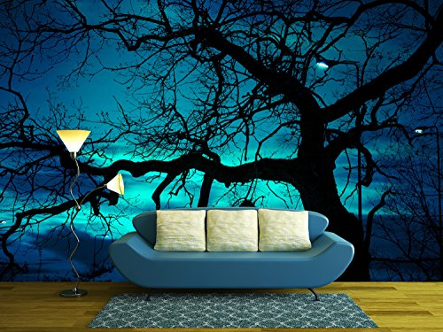 wall26 - Disquieting Landscape, Bare Tree and Street Lamp at Halloween Night, with Strange Light on the Dark Sky - Removable Wall Mural | Self-adhesive Large Wallpaper - 100x144 inches