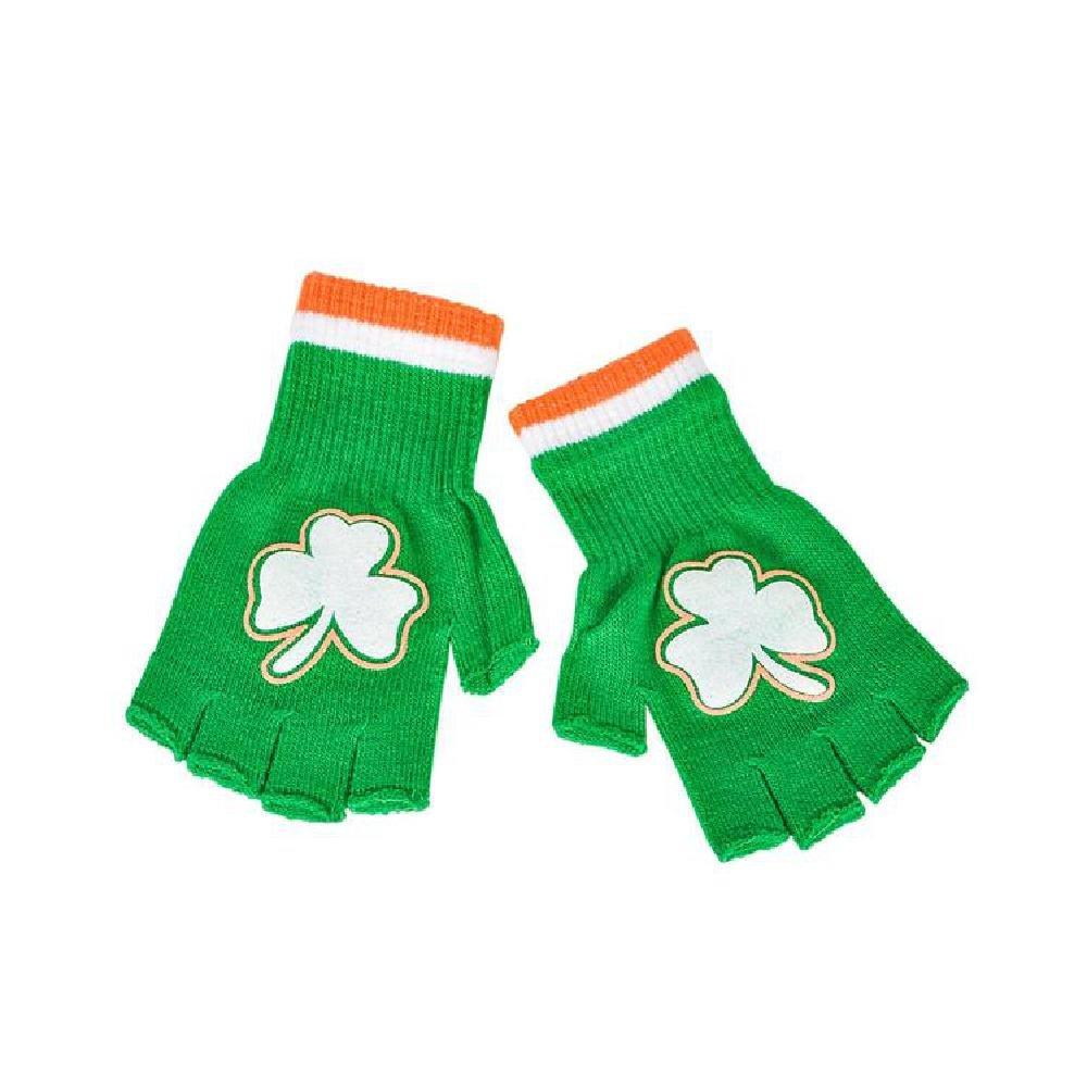 Acrylic Irish Print Fingerless Gloves