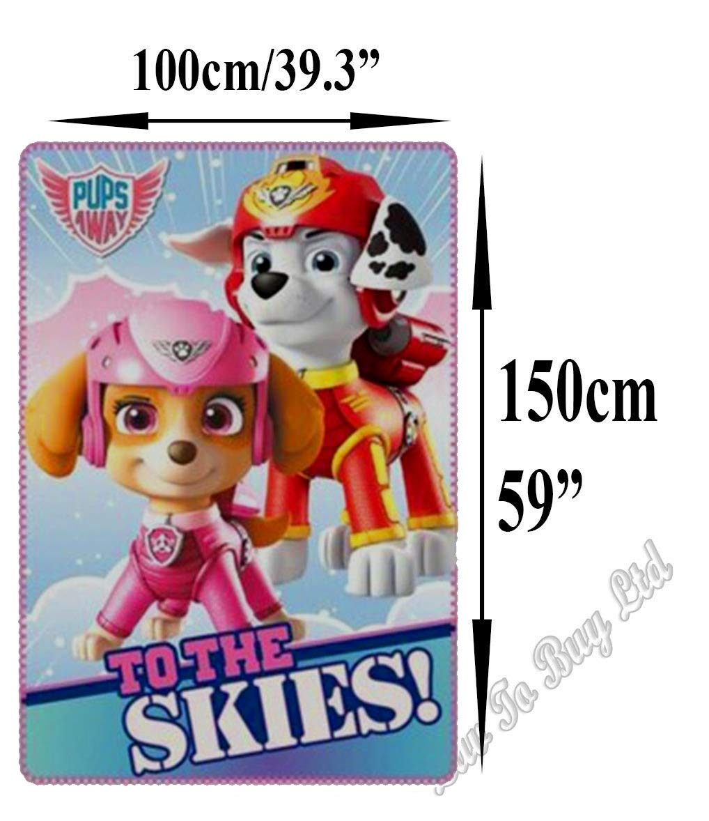59. x 39.3 Paw Patrol to Skies Blanket Soft Touch Fluffy Coral Fleece,100/×150cm Official Licenced.