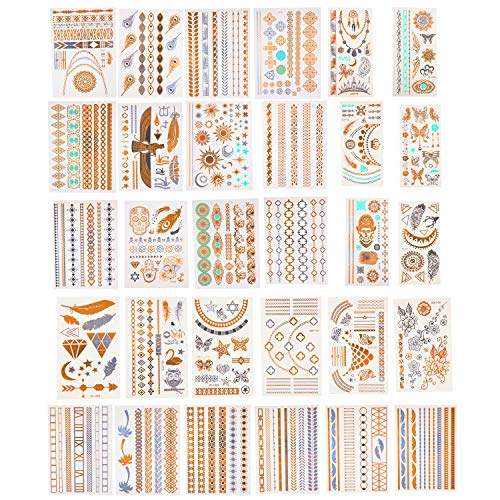 Temporary Metallic Tattoos VALUE PACK - 30 Different Sheets, 300+ Unique Gold, Silver and Turquoise Waterproof Tattoos w Extra Bright Colors- Long Lasting Designs Are Easy to Apply