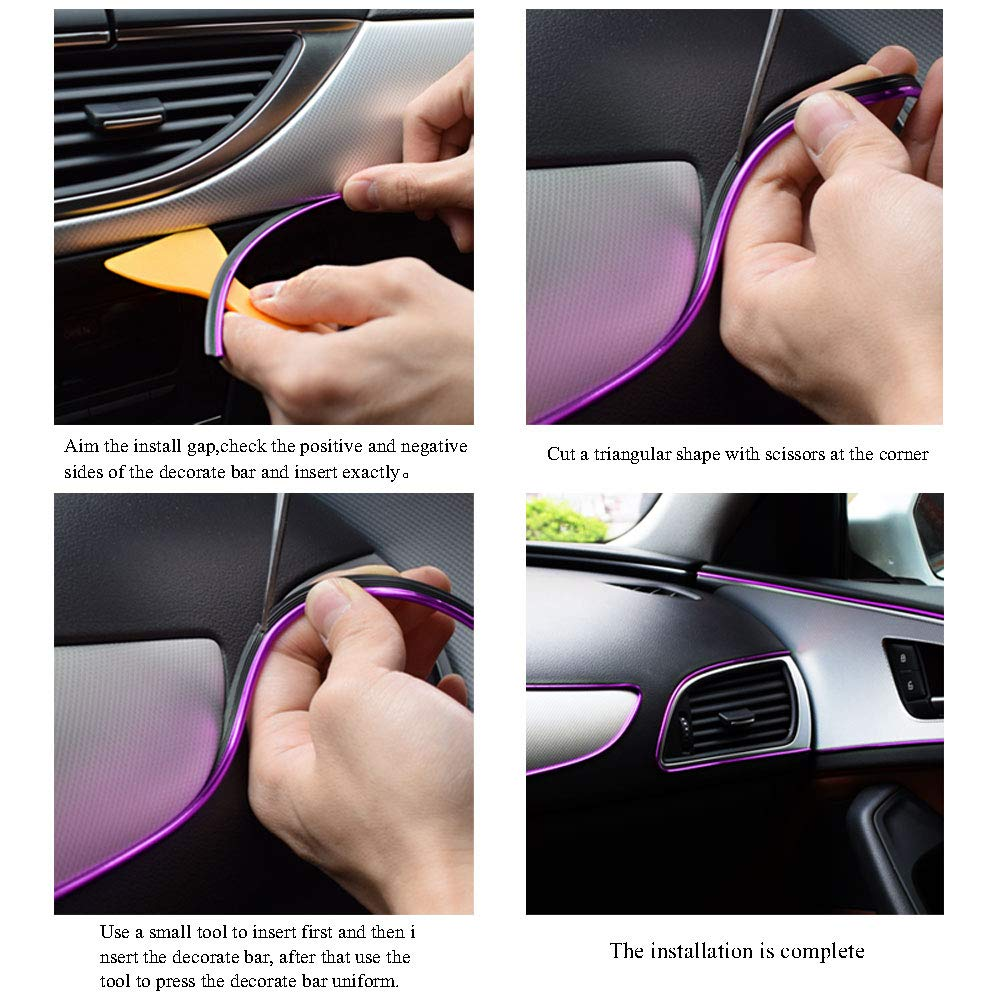 50FT 15M Ceyes Car Interior Moulding Trim Silver Flexible Car Decoration Moulding Trim Strip DIY Rubber Seal Protector Line Car Interior Trim Strip with Install Tool