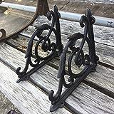 2 Pcs Cast Iron Antique Style Brackets Garden Braces Rustic Shelf Bracket Black
