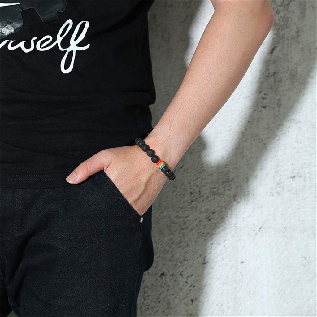 Handmade Tiger Eye Bead Bracelet Rainbow Bead Charm Bangle Lava Stone Bracelet Yoga Gifts for Women Men