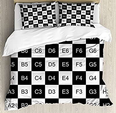 Checkers Game Duvet Cover Set by Ambesonne, Monochrome Chess Board Design with Tile Coordinates Mosaic Square Pattern, Decorative Bedding Set with Pillow Shams, Black White