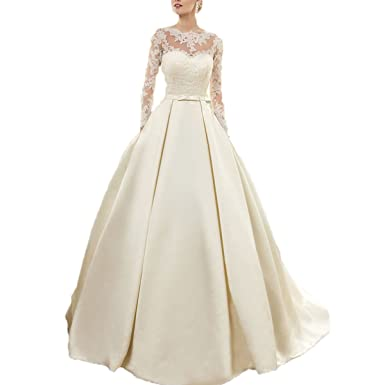 Yuxin Wedding Dress with Long Sleeve Appliqued Muslim Vestido De Noiva