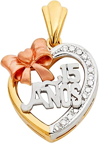 14K Tri Color Gold 15 Years Quinceanera Years Charm Pendant For Necklace or Chain Ioka