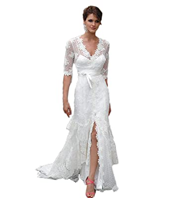 Vicokity Lace V-Neck Simple Country Wedding Dresses Half Sleeve Side ...