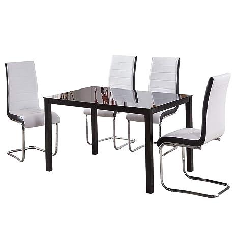 Tavolo Nero Sedie Bianche.Grande Set Di 4 Sedie E Tavolo Da Pranzo In Vetro Nero Sedie