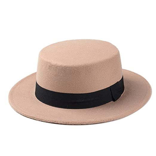 c777fb83411 FAVOLOOK Women s Wool Boater Flat Top Hats Felt Wide Brim Church Derby  Fedora Caps at Amazon Women s Clothing store