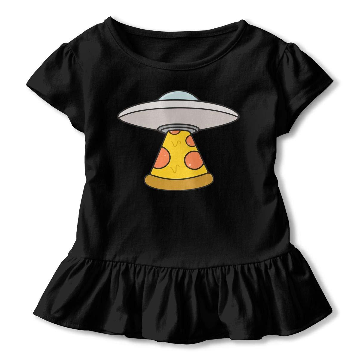 Kawaii Pizza UFO Childrens Girls Short Sleeve T Shirts Ruffles Shirt T-Shirt for 2-6T