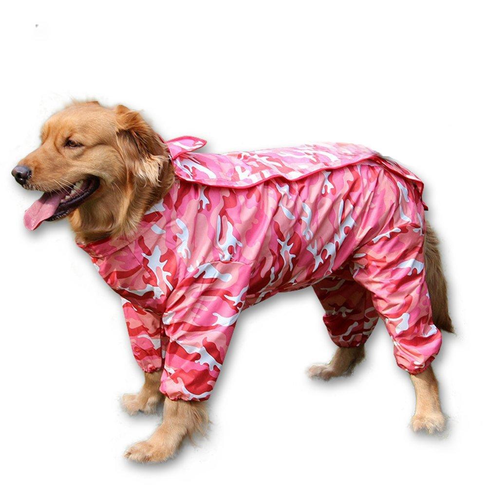 Pink 18 Pink 18 BBEART Dog Raincoat, Fashion Four-Legged Hooded Pet Raincoat Rain Jacket Jumpsuit Rain Poncho Coat Slicker Camouflage Long Sleeves Rainproof Clothes for Small Medium Large Dogs Cool (18, Pink)