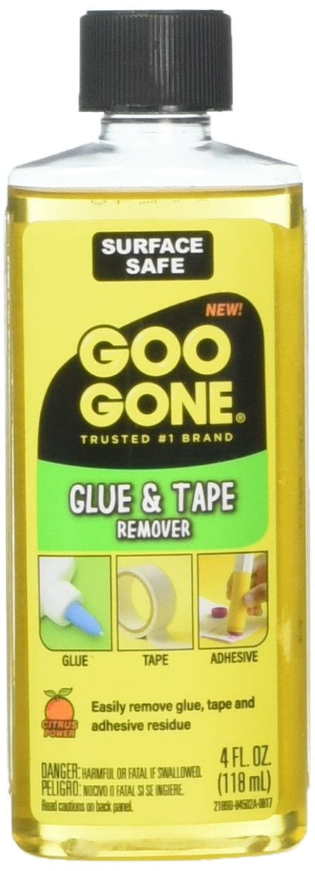 Goo Goo Glue & Tape Adhesive Remover - 4 Ounce - Removes Adhesives Stickers Crayon Glue Tape Gum Window Decals Glitter Labels and More Goo Góne