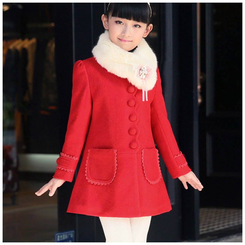 M/&A Girls Winter Autumn Wool Blend Jacket Coat with Faux Fur Collar