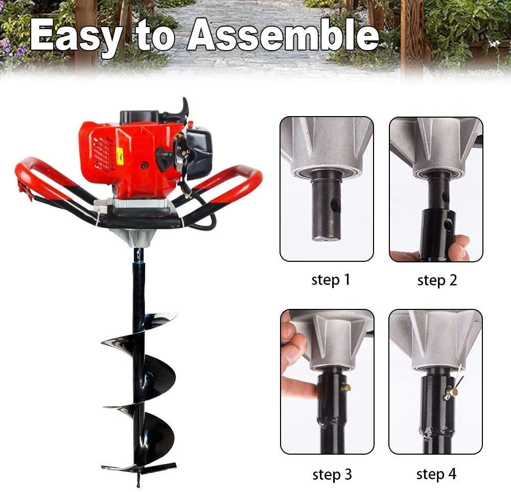 Pumplus 52cc 2.4HP Gas Powered Post Hole Digger with Two Earth Auger Drill Bit 6 /& 10 Extention