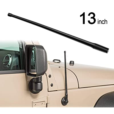 AURELIO TECH 13-inch Universal Rubber Antenna Fit for 2007-2020 Jeep Wrangler JK JKU JL JLU Gladiator Designed for FM/AM Reception: Automotive