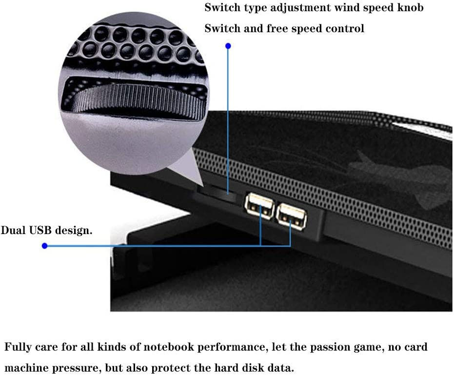 ZC-HZW Laptop Stand Cooling Pad Aluminum Alloy Notebook Computer Support Plastic with USB Ports Laptop Desk Holder,Black