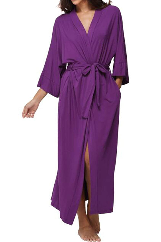 7 Ronald Turner Women's Cotton Long Kimono Robe Sexy Party Wedding Bride Bridesmaids Robes Ladies Modal Black Loungewear Nightgown Bathrobe 9 XL