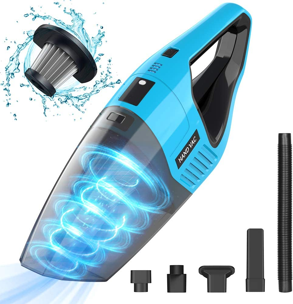 Handheld Vacuum Cordless, 7KPA Hand Vacuum Cleaner Rechargeable Portable with Stainless Steel Filter Wet Dry Lightweight Quick Charge Mini Hand Vac Car Vacuum for Pet Hair Home Car Cleaning (Blue)
