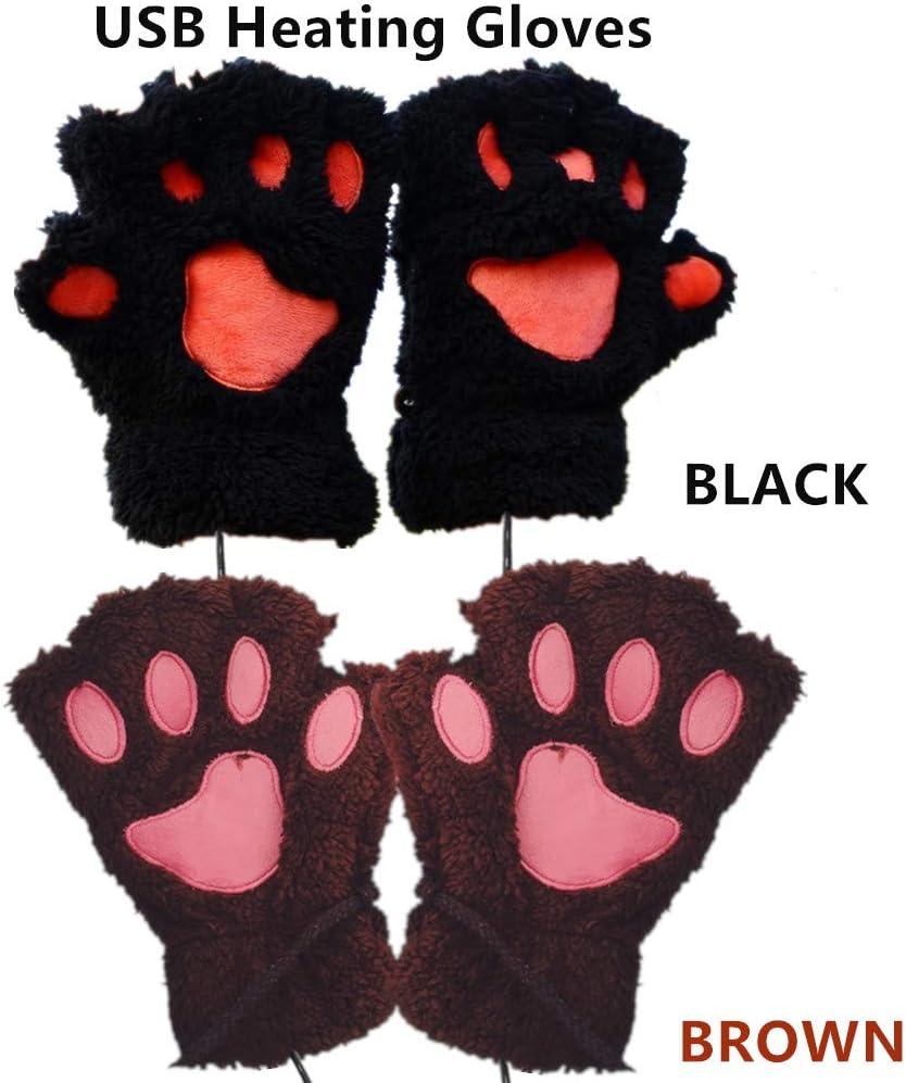 2 Pair DECVO Winter Powered Warmer Thicken Paw Fingerless USB Heated Gloves Plush Cold-Proof Knitted Half Finger Laptop Mittens USB Warm Paw Gloves for Women Teen Girls Best Winter Gift (Black+Brown)