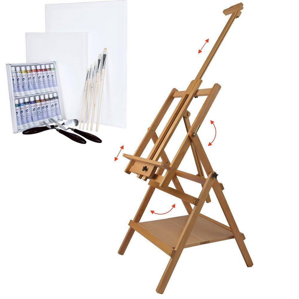 Artina Lyon - Set de pintura - Caballete de pintura profesional, colores al óleo, pinceles, lienzos y espátulas