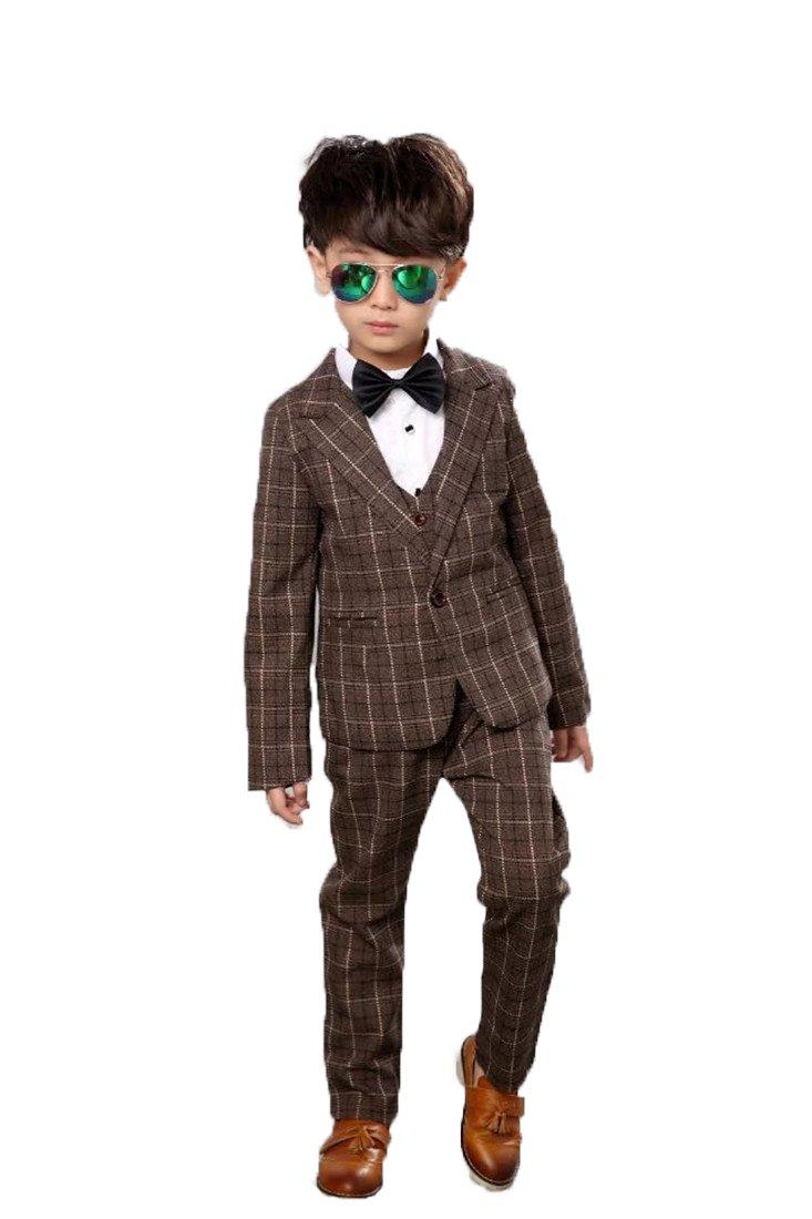 Gele Boy 4 Pieces Cotton Plaid Casual Suit,Vest+Blazer+Pants+Bow Tie (4T, Coffee)