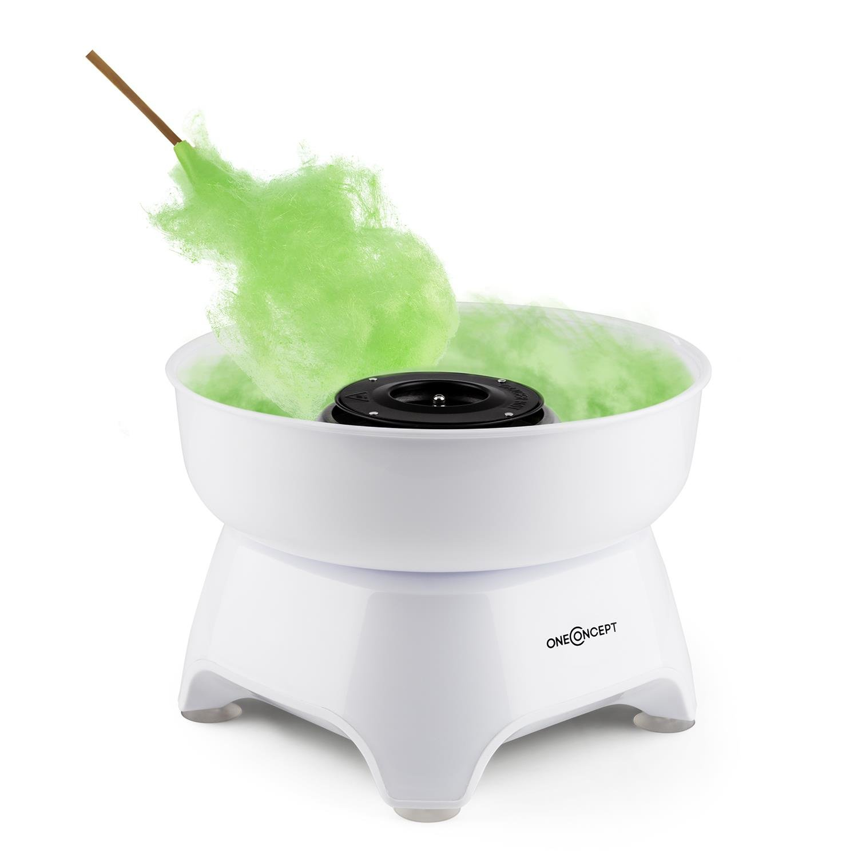oneConcept Candycloud macchina per lo zucchero filato (500 Watt, contenitore, piattaforma girevole, possibilità di aggiungere ulteriori gusti e colori, semplice da usare e da pulire) - bianco