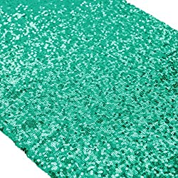 "ShinyBeauty 12"" x 108"" Sequined Table Runner - Shiny Green"