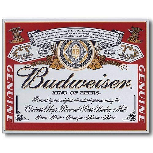 ShopForAllYou vintage decor wall signs Budweiser Bud Beer Label Vintage Retro Can Advertising Anheuser Metal Tin Sign (Label Budweiser Sign Tin)
