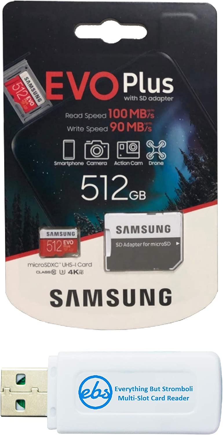 Samsung Micro 512GB Evo Plus Memory Card Class 10 Works with Android Phone - Galaxy A20s, A20, A10, A70 (MB-MC512) Bundle with (1) Everything But Stromboli MicroSD & SD Card Reader