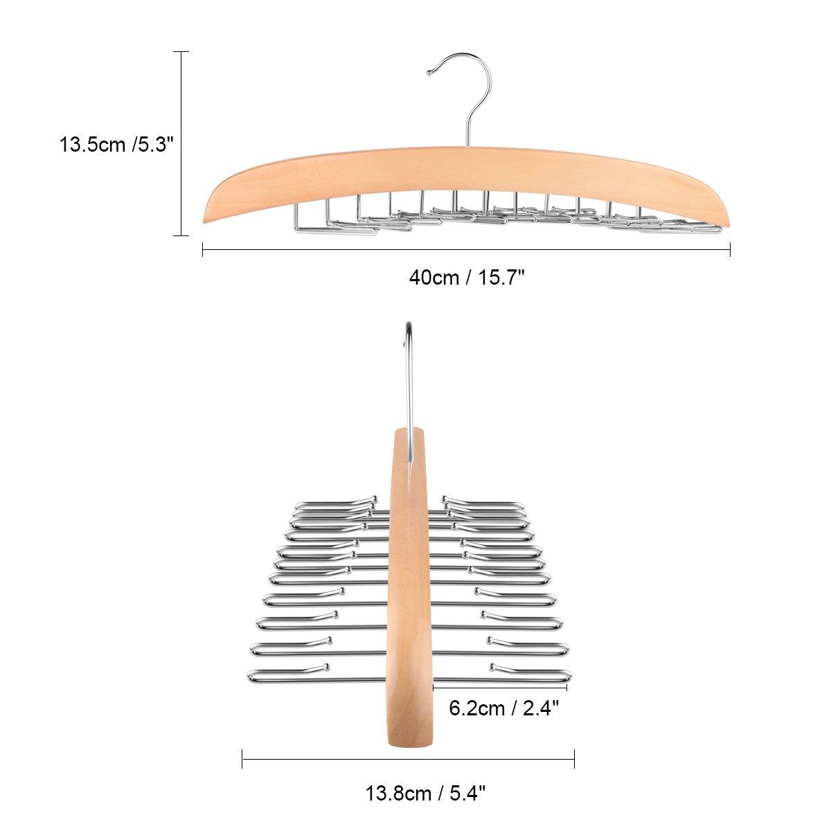 SmartHitech Perchas de Madera para Perchero- Percha Port/átil Organizador de Corbata Gancho para Percha 24 Ganchos Sostenedor para Corbatas y Cinturones