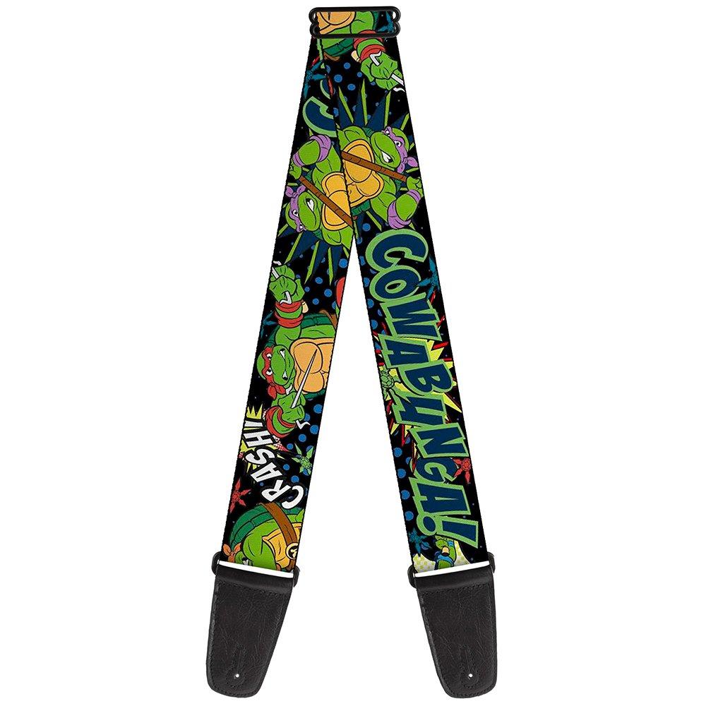 Teenage Mutant Ninja Turtles Ninja, 2 Inches Wide Guitar Strap - Classic TMNT Turtles Pose12 COWABUNGA! Pop Art (GS-WNT062)